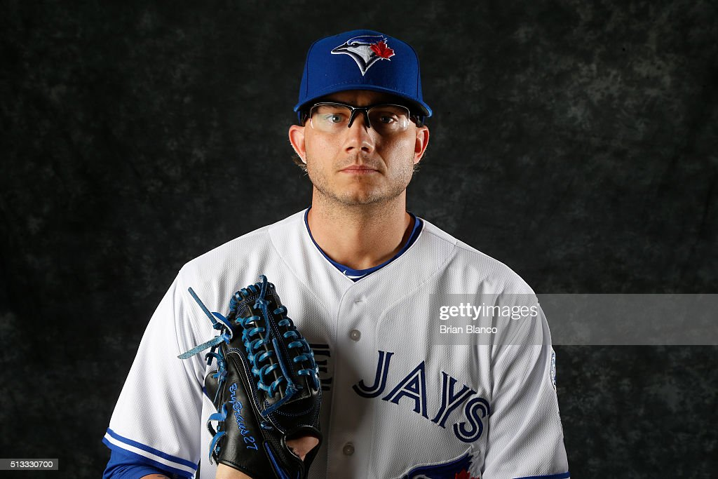 <a gi-track='captionPersonalityLinkClicked' href=/galleries/search?phrase=Brett+Cecil&family=editorial&specificpeople=4556338 ng-click='$event.stopPropagation()'>Brett Cecil</a> #27 of the Toronto Blue Jays poses for a photo during the Blue Jays' photo day on February 27, 2016 in Dunedin, Florida.