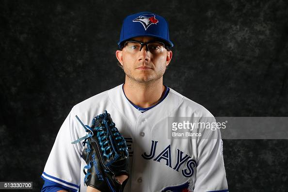 Brett Cecil of the Toronto Blue Jays poses for a photo during the Blue Jays' photo day on February 27 2016 in Dunedin Florida