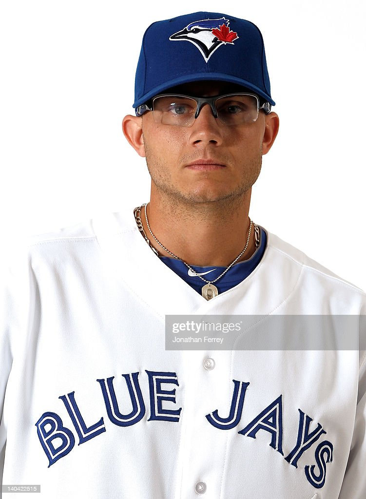 <a gi-track='captionPersonalityLinkClicked' href=/galleries/search?phrase=Brett+Cecil&family=editorial&specificpeople=4556338 ng-click='$event.stopPropagation()'>Brett Cecil</a> #27 of the Toronto Blue Jays poses for a portrait at Dunedin Stadium on March 2, 2012 in Dunedin, Florida.