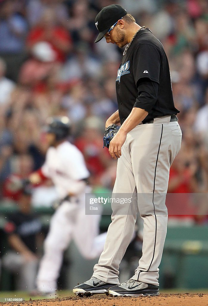 <a gi-track='captionPersonalityLinkClicked' href=/galleries/search?phrase=Brett+Cecil&family=editorial&specificpeople=4556338 ng-click='$event.stopPropagation()'>Brett Cecil</a> #27 of the Toronto Blue Jays reacts after he gave up a solo home run to Dustin Pedroia of the Boston Red Sox on July 5, 2011 at Fenway Park in Boston, Massachusetts.