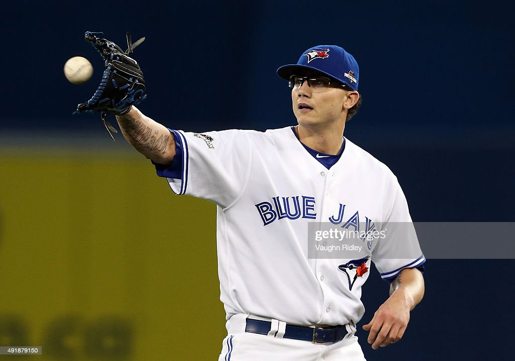 <a gi-track='captionPersonalityLinkClicked' href=/galleries/search?phrase=Brett+Cecil&family=editorial&specificpeople=4556338 ng-click='$event.stopPropagation()'>Brett Cecil</a> #27 of the Toronto Blue Jays reacts after striking out Prince Fielder #84 of the Texas Rangers in the eighth inning against the Texas Rangers during game one of the American League Division Series at Rogers Centre on October 8, 2015 in Toronto, Ontario, Canada.