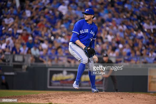 Brett Cecil of the Toronto Blue Jays throws against the Kansas City Royals at Kauffman Stadium on August 5 2016 in Kansas City Missouri