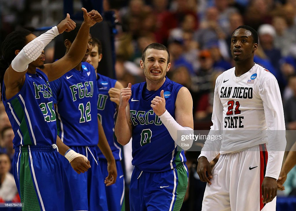 Brett Comer #0 of the Florida Gulf Coast Eagles reacts in the second half alongside Jamaal Franklin #21 of the San Diego State Aztecs during the third round of the 2013 NCAA Men's Basketball Tournament at Wells Fargo Center on March 24, 2013 in Philadelphia, Pennsylvania.