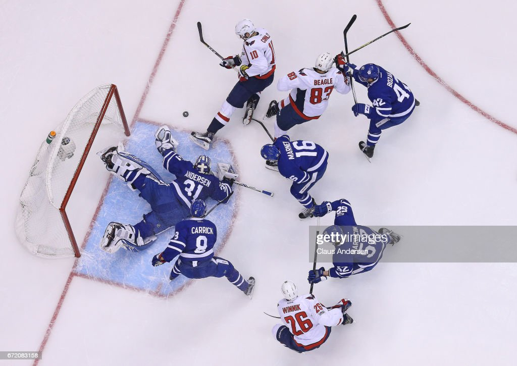 Brett Connolly #10 of the Washington Capitals is stopped by a sprawling Frederik Andersen #31 of the Toronto Maple Leafs in Game Six of the Eastern Conference Quarterfinals during the 2017 NHL Stanley Cup Playoffs at the Air Canada Centre on April 23, 2017 in Toronto, Ontario, Canada. The Capitals defeated the Maple Leafs 2-1 in overtime to win series 4-2.