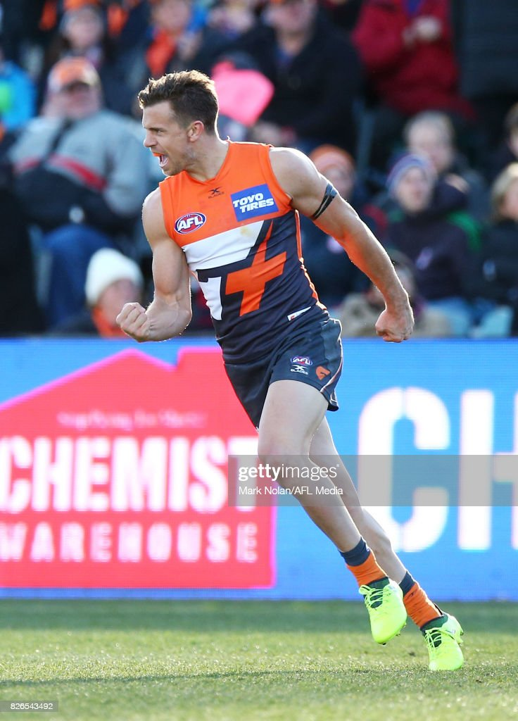 Brett Deledio of the Giants celebrates his first goal during the round 20 AFL match between the Greater Western Sydney Giants and the Melbourne Demons at UNSW Canberra Oval on August 5, 2017 in Canberra, Australia.