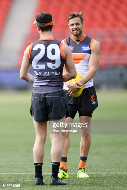 Brett Deledio of the Giants trains during a GWS Giants AFL Training Session at Spotless Stadium on September 20 2017 in Sydney Australia