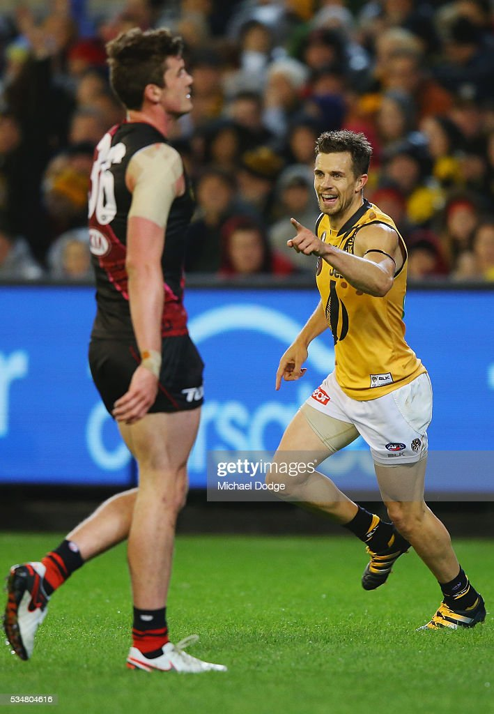 <a gi-track='captionPersonalityLinkClicked' href=/galleries/search?phrase=Brett+Deledio&family=editorial&specificpeople=524933 ng-click='$event.stopPropagation()'>Brett Deledio</a> of the Tigers celebrates a goal during the round 10 AFL match between the Essendon Bombers and the Richmond Tigers at Melbourne Cricket Ground on May 28, 2016 in Melbourne, Australia.