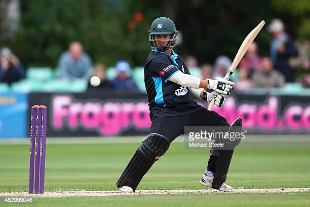 Brett D'Oliveira of Worcestershire plays a cut shot during the Royal London One Day Cup Group A match between Worcestershire and Gloucestershire at...