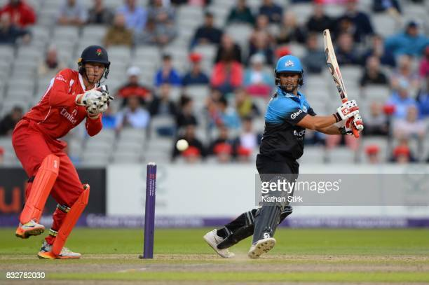 Brett D'Oliveira of Worcestershire Rapids in action during the NatWest T20 Blast match between Lancashire Lightning and Worcestershire Rapids at Old...