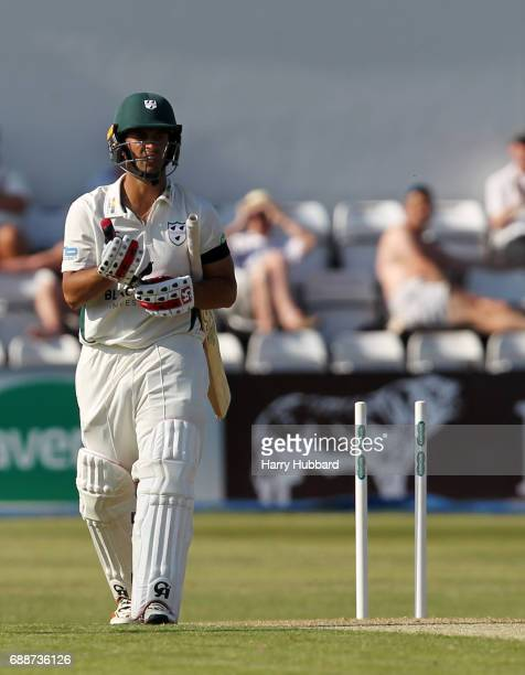 Brett D'Oliveria of Worcestershire is bowled by Nathan Buck of Northamptonshire in action during the Specsavers County Championship division two...