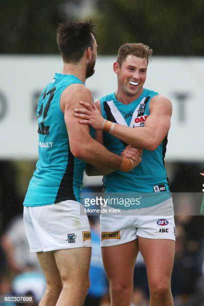 Brett Eddy of the Power celebrates after kicking a goal during the JLT Community Series match between the Port Adelaide Power and the Hawthorn Hawks...