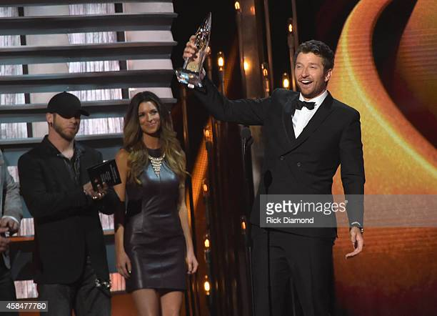 Brett Eldredge accepts the New Artist of the Year Award during the 48th annual CMA Awards at the Bridgestone Arena on November 5 2014 in Nashville...