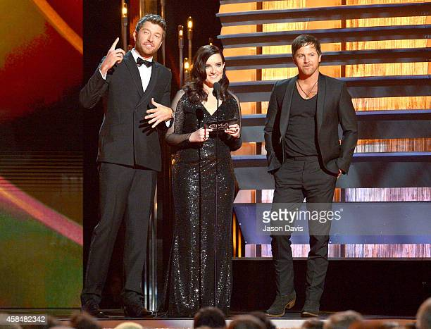 Brett Eldredge Brandy Clark and Kip Moore present during the 48th annual CMA awards at the Bridgestone Arena on November 5 2014 in Nashville Tennessee