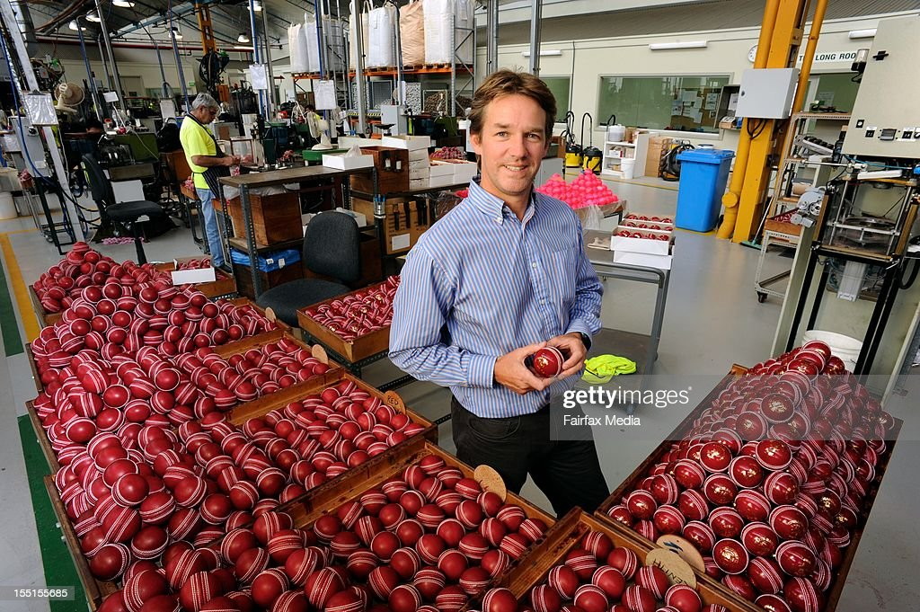 Brett Elliot, Group Managing Director of Kookaburra, at the Kookaburra cricket ball factory at Moorabbin in Melbourne, October 24, 2012. This iconic manufacturer of Australian cricket balls is angered that Cricket Australia intends to introduce the English-made Dukes balls into domestic games. Kookaburra has virtually monopolised the local cricket ball market for the past 122 years. (Photo by Penny Stephens/Fairfax Media/Fairfax Media via Getty Images).