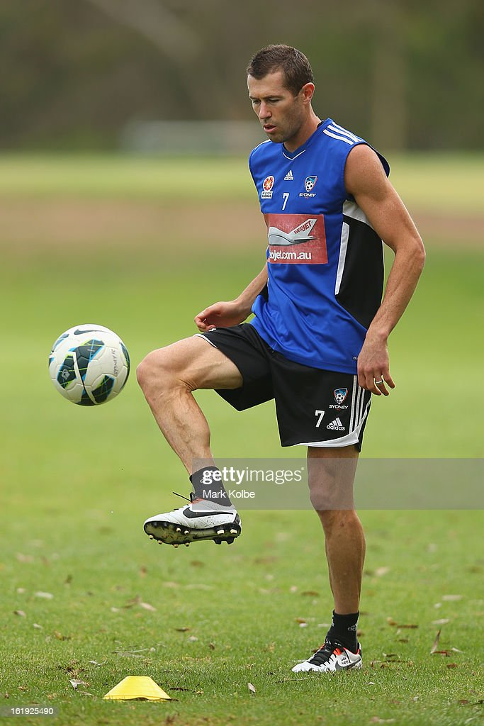 <a gi-track='captionPersonalityLinkClicked' href=/galleries/search?phrase=Brett+Emerton&family=editorial&specificpeople=206493 ng-click='$event.stopPropagation()'>Brett Emerton</a> kicks during a Sydney FC A-League training session at Macquarie Uni on February 18, 2013 in Sydney, Australia.