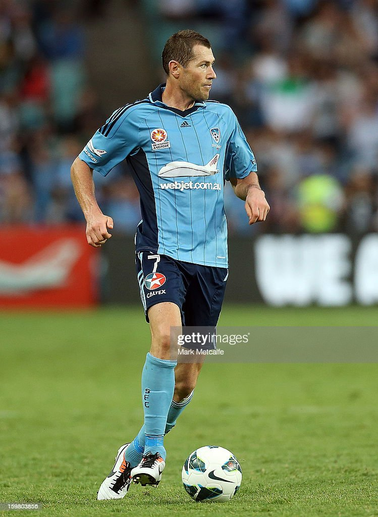 Brett Emerton of Sydney in action during the round 17 A-League match between Sydney FC and the Wellington Phoenix at Allianz Stadium on January 19, 2013 in Sydney, Australia.