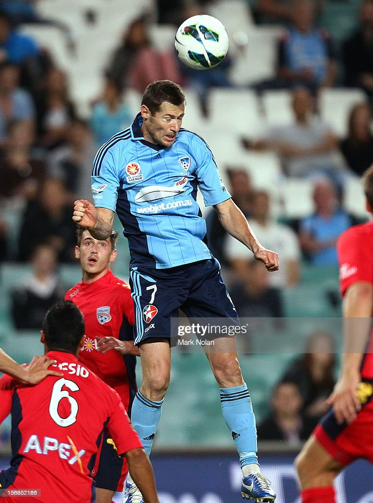 <a gi-track='captionPersonalityLinkClicked' href=/galleries/search?phrase=Brett+Emerton&family=editorial&specificpeople=206493 ng-click='$event.stopPropagation()'>Brett Emerton</a> of Sydney in action during the round eight A-League match between Sydney FC and Adelaide United at Allianz Stadium on November 23, 2012 in Sydney, Australia.