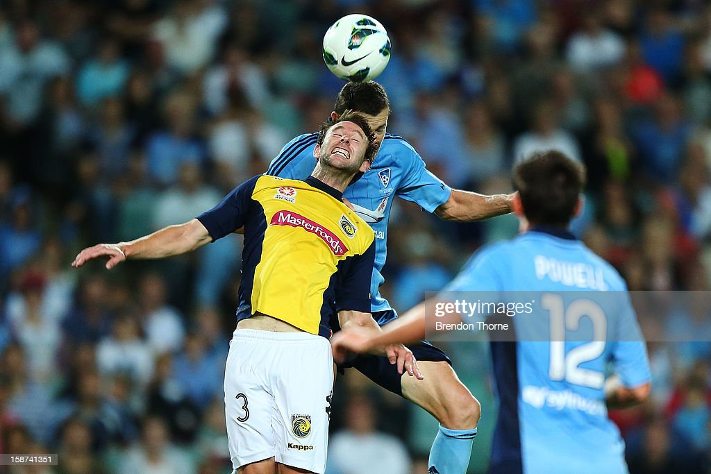 Brett Emerton of Sydney scores the opening goal during the round 13 A-League match between Sydney FC and the Central Coast Mariners at Allianz Stadium on December 27, 2012 in Sydney, Australia.