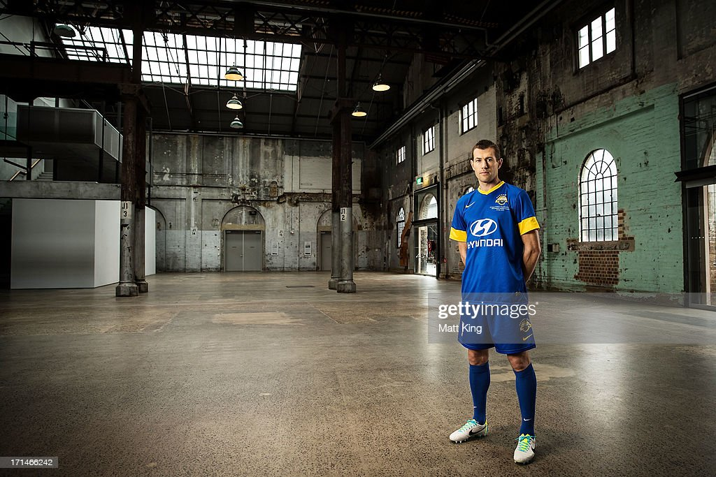 <a gi-track='captionPersonalityLinkClicked' href=/galleries/search?phrase=Brett+Emerton&family=editorial&specificpeople=206493 ng-click='$event.stopPropagation()'>Brett Emerton</a> poses during the A-League All Stars jersey launch at Carriageworks on June 25, 2013 in Sydney, Australia.