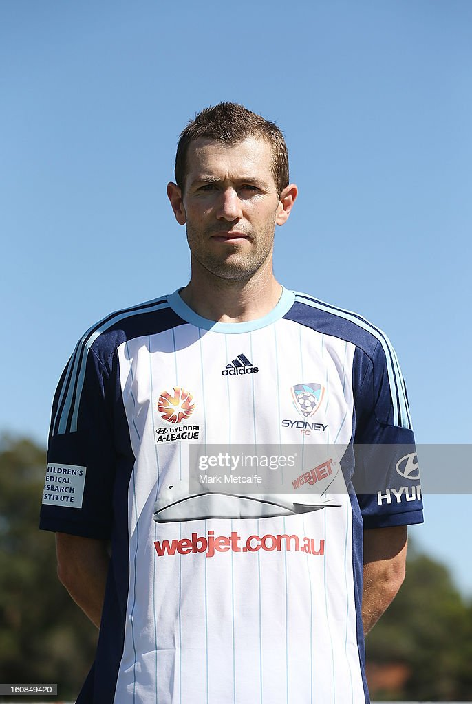 <a gi-track='captionPersonalityLinkClicked' href=/galleries/search?phrase=Brett+Emerton&family=editorial&specificpeople=206493 ng-click='$event.stopPropagation()'>Brett Emerton</a> poses in a 'Community Strip' designed by a Sky Blues Member after a Sydney FC A-League training session at Macquarie Uni on February 7, 2013 in Sydney, Australia.