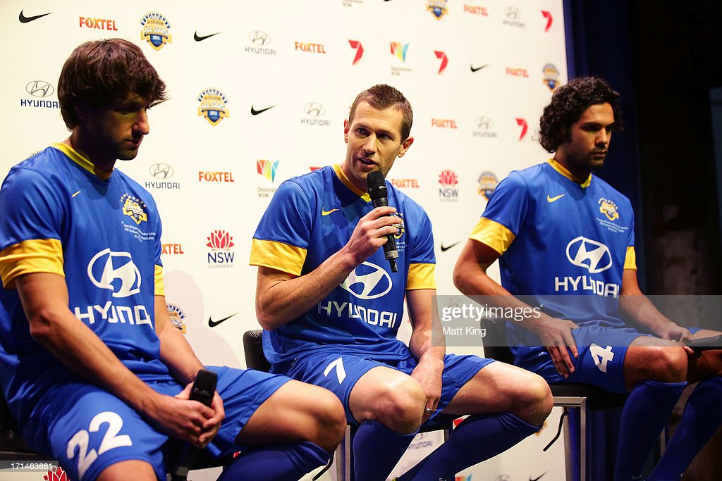 Brett Emerton speaks during the A-League All Stars jersey launch at Carriageworks on June 25, 2013 in Sydney, Australia.