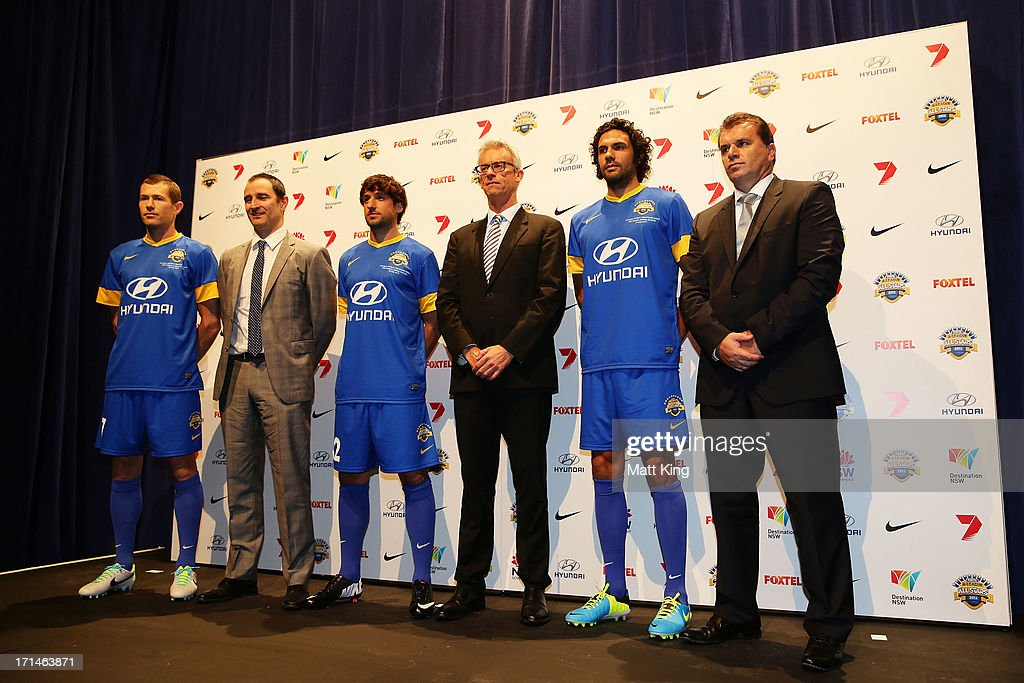 Brett Emerton, Thomas Broich and Nikolai Topor-Stanley are unveiled as the first three A-League All Stars names alongside Nike Pacific General Manager Paul Faulkner, FFA CEO David Gallop and All Stars coach Ange Postecoglou during the A-League All Stars jersey launch at Carriageworks on June 25, 2013 in Sydney, Australia.