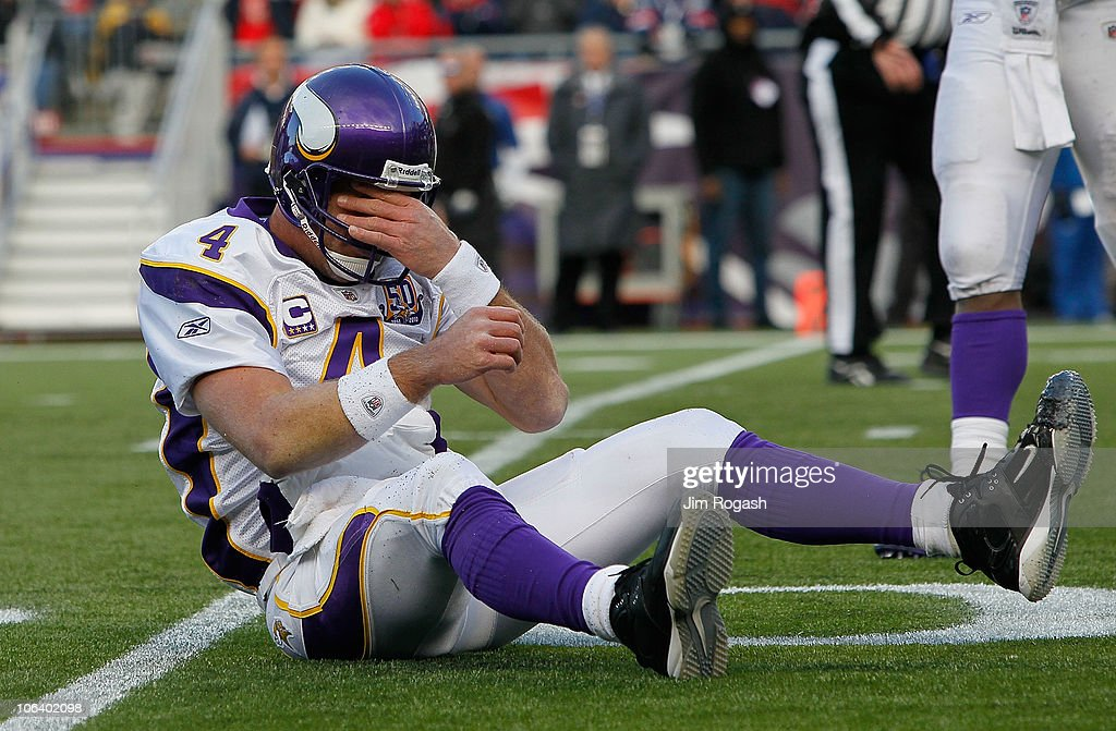 <a gi-track='captionPersonalityLinkClicked' href=/galleries/search?phrase=Brett+Favre&family=editorial&specificpeople=167102 ng-click='$event.stopPropagation()'>Brett Favre</a> #4 of the Minnesota Vikings reacts after being knocked down in the first half against the New England Patriots at Gillette Stadium on October 31, 2010 in Foxboro, Massachusetts.