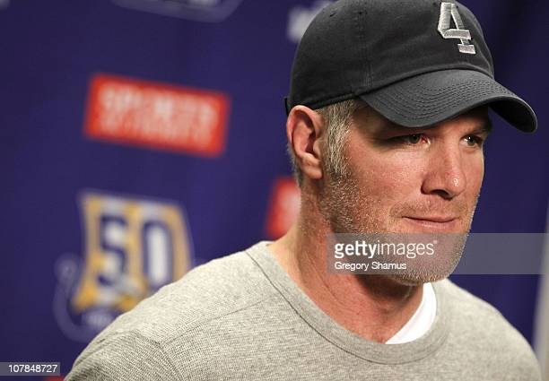 Brett Favre of the Minnesota Vikings talks at a post game press conference after a 1320 loss to the Detroit Lions at Ford Field on January 2 2011 in...