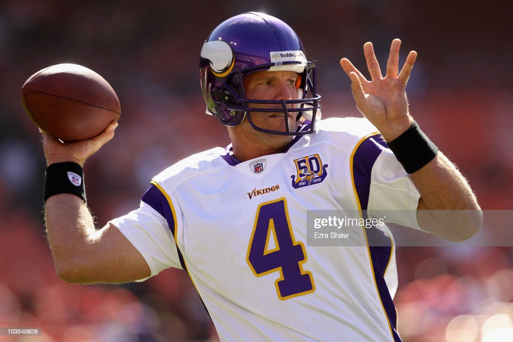 Brett Favre #4 of the Minnesota Vikings warms up before their preseason game against the San Francisco 49ers at Candlestick Park on August 22, 2010 in San Francisco, California.