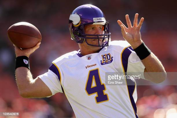 Brett Favre of the Minnesota Vikings warms up before their preseason game against the San Francisco 49ers at Candlestick Park on August 22 2010 in...