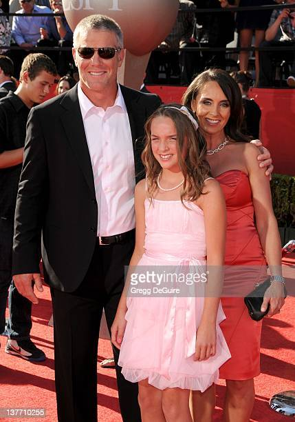 Brett Favre wife Deanna Favre and daughter Breleigh Favre arrive at the 2010 ESPY Awards at the Nokia Theatre LA Live on July 14 2010 in Los Angeles...