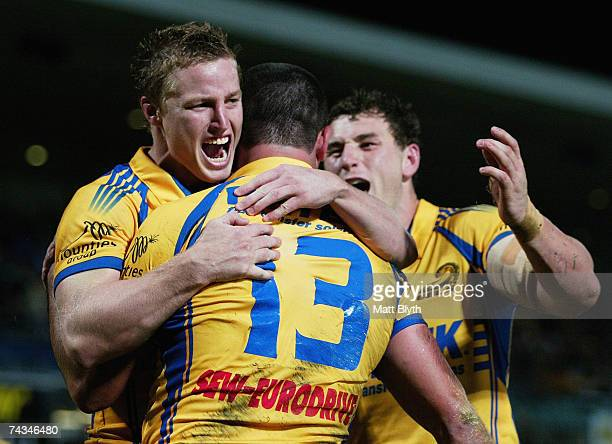 Brett Finch congratulates team mate Daniel Wagon of the Eels after scoring a try during the round 11 NRL match between the Parramatta Eels and the...