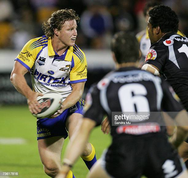 Brett Finch of Paramatta looks to offload the ball during the round one NRL match between the Warriors and the Parramatta Eels at Mount Smart Stadium...