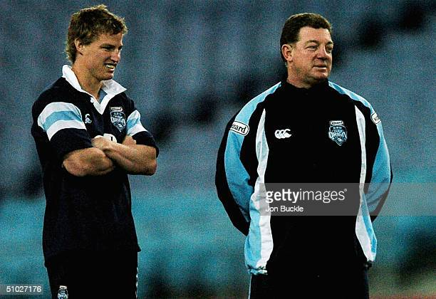 Brett Finch of the NSW Blues chats with coach Phil Gould during NSW State of Origin Training at the Telstra Stadium July 6 2004 in Sydney Australia