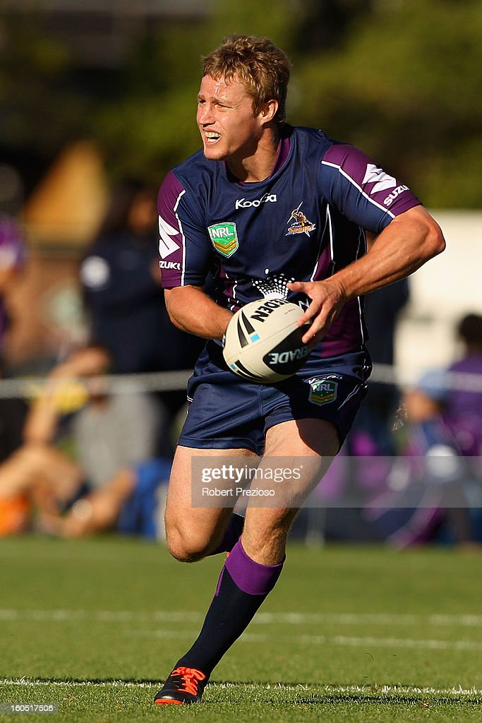 <a gi-track='captionPersonalityLinkClicked' href=/galleries/search?phrase=Brett+Finch&family=editorial&specificpeople=207179 ng-click='$event.stopPropagation()'>Brett Finch</a> of the Storm runs with the ball during the NRL trial match between the Melbourne Storm and Brisbane Easts at Gosch's Paddock on February 2, 2013 in Melbourne, Australia.