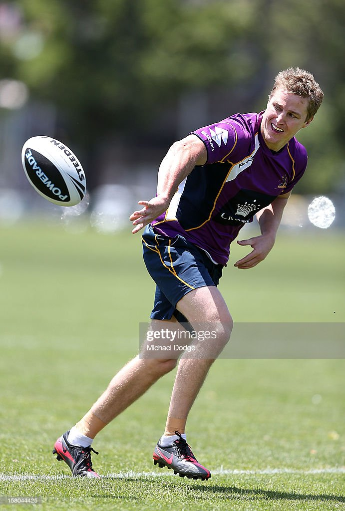 <a gi-track='captionPersonalityLinkClicked' href=/galleries/search?phrase=Brett+Finch&family=editorial&specificpeople=207179 ng-click='$event.stopPropagation()'>Brett Finch</a> passes the ball during a Melbourne Storm NRL training session at Gosch's Paddock on December 10, 2012 in Melbourne, Australia.