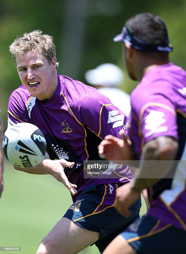 Brett Finch passes the ball during a Melbourne Storm NRL training session at Gosch's Paddock on December 10, 2012 in Melbourne, Australia.