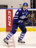 Brett Foy of the Mississauga Steelheads skates up ice against the Niagara Icedogs during game action on March 14 2014 at the Hershey Centre in...