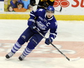 Brett Foy of the Mississauga Steelheads skates up ice against the Kingston Frontenacs during game action on March 16 2014 at the Hershey Centre in...