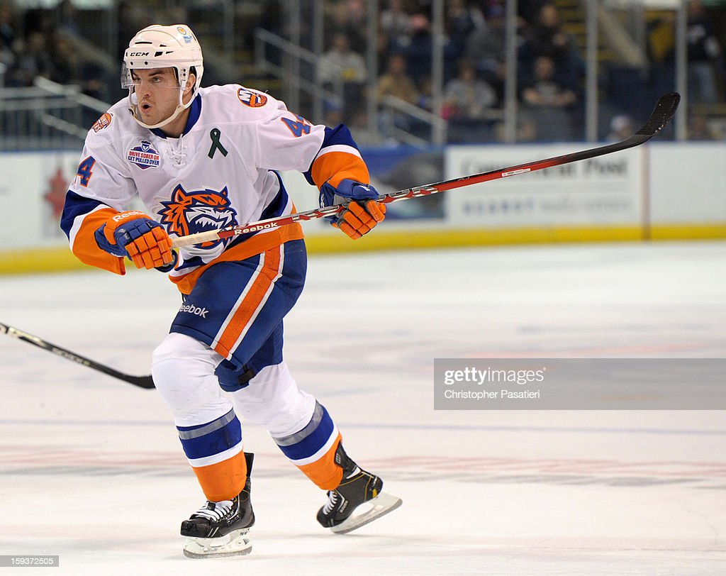 Brett Gallant #44 of the Bridgeport Sound Tigers skates during an American Hockey League game against the Portland Pirates on January 12, 2013 at the Webster Bank Arena at Harbor Yard in Bridgeport, Connecticut.