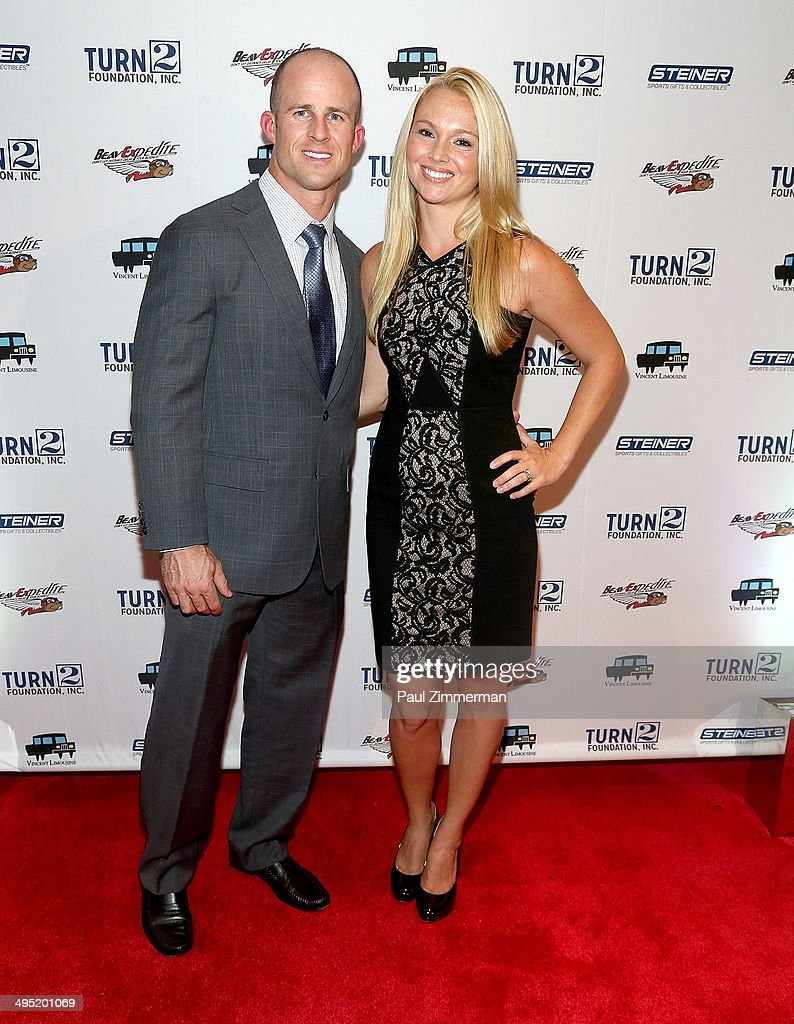 Brett Gardner (L) and wife Jessica Clendenin attend the Derek Jeter 18th Annual Turn 2 Foundation dinner at Sheraton New York Times Square on June 1, 2014 in New York City.