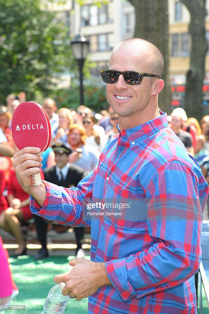 <a gi-track='captionPersonalityLinkClicked' href=/galleries/search?phrase=Brett+Gardner&family=editorial&specificpeople=4172518 ng-click='$event.stopPropagation()'>Brett Gardner</a> attends the Delta Open Table Tennis Tournament at Madison Square Park on August 21, 2013 in New York City.