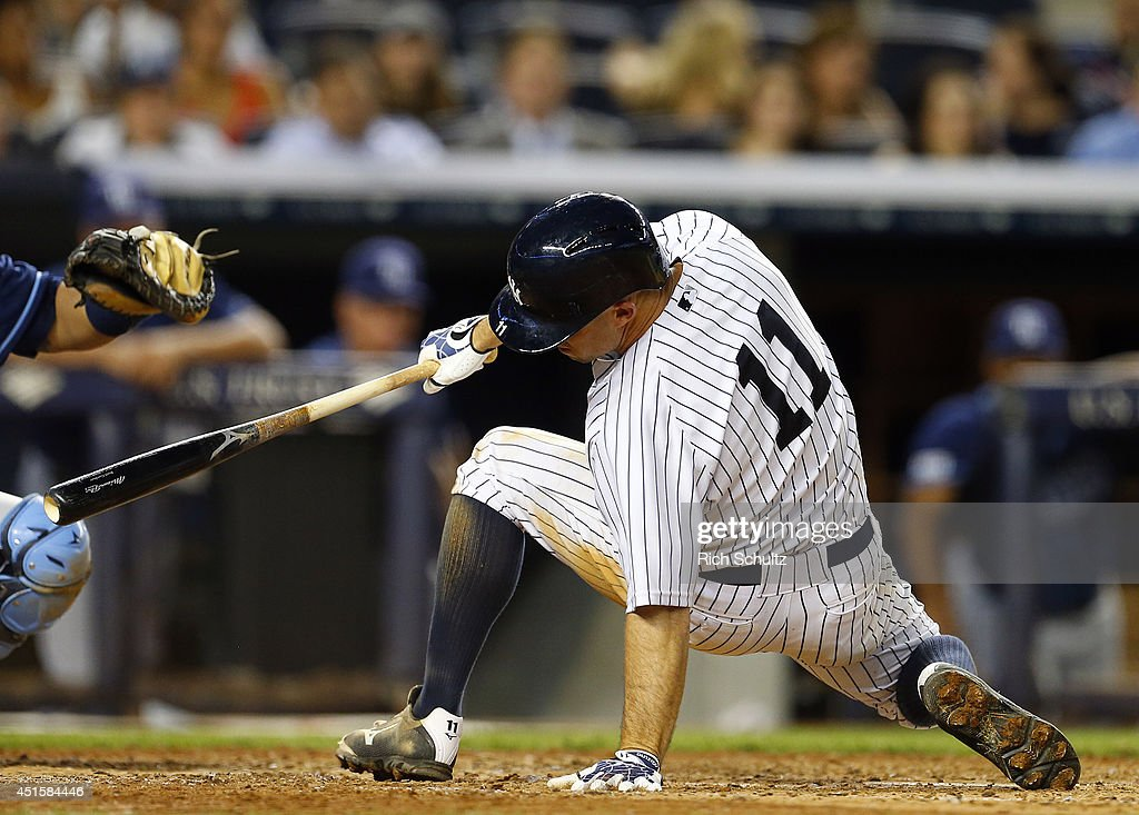 <a gi-track='captionPersonalityLinkClicked' href=/galleries/search?phrase=Brett+Gardner&family=editorial&specificpeople=4172518 ng-click='$event.stopPropagation()'>Brett Gardner</a> #11 of the New York Yankees backs off an inside pitch during the fifth inning in a MLB baseball game against the Tampa Bay Rays at Yankee Stadium on July 1, 2014 in the Bronx borough of New York City. The Rays defeated the Yankees 2-1.