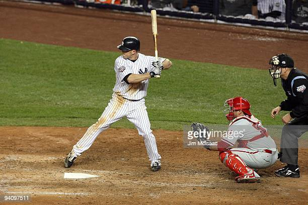 Brett Gardner of the New York Yankees bats the Philadelphia Phillies in Game Two of the 2009 MLB World Series at Yankee Stadium on October 29 2009 in...
