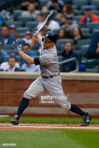 Brett Gardner of the New York Yankees in action against the New York Mets on May 15 2014 at Citi Field in the Flushing neighborhood of the Queens...