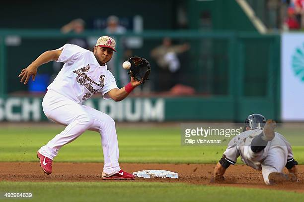 Brett Gardner of the New York Yankees is caught stealing second base by Jhonny Peralta of the St Louis Cardinals in the eighth inning at Busch...