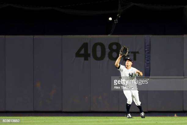 Brett Gardner of the New York Yankees makes a catch during the game against the Cincinnati Reds at Yankee Stadium on Tuesday July 2017 in the Bronx...