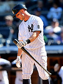 Brett Gardner of the New York Yankees reacts after striking out in the eighth inning against the Tampa Bay Rays at Yankee Stadium on April 24 2016 in...