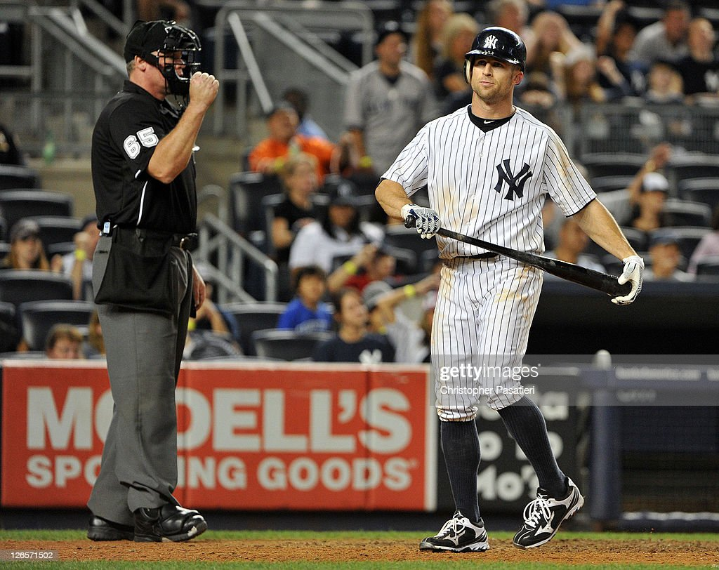 <a gi-track='captionPersonalityLinkClicked' href=/galleries/search?phrase=Brett+Gardner&family=editorial&specificpeople=4172518 ng-click='$event.stopPropagation()'>Brett Gardner</a> #11 of the New York Yankees reacts after striking out to end the bottom of the 13th inning against the Boston Red Sox on September 25, 2011 at Yankee Stadium in the Bronx borough of New York City.