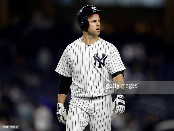 Brett Gardner of the New York Yankees reacts to the 73 loss to the Kansas City Royals after the game at Yankee Stadium on May 11 2016 in the Bronx...